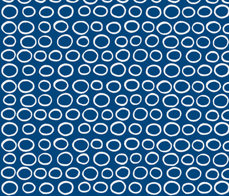 Wobbly Peas (midnight sea & white) fabric by pattyryboltdesigns on Spoonflower - custom fabric