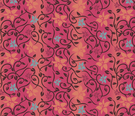 Magical Asian Flower - Pink fabric by jbhorsewriter7 on Spoonflower - custom fabric
