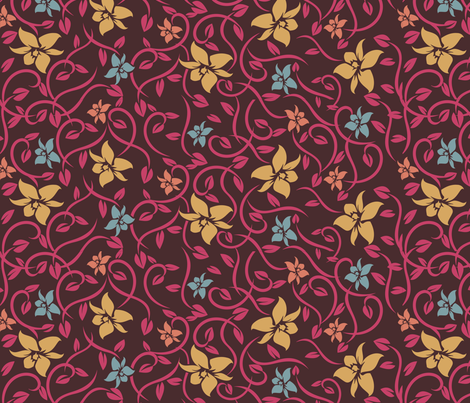 Asian Flowers - Pink & Brown fabric by jbhorsewriter7 on Spoonflower - custom fabric