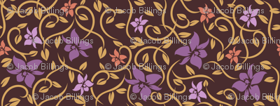 Asian Flowers - Purple & Brown