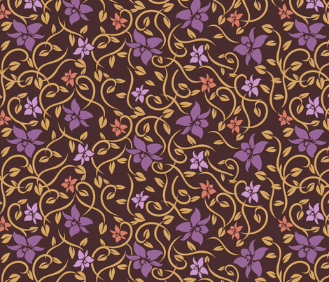 Asian Flowers - Purple & Brown fabric by jbhorsewriter7 on Spoonflower - custom fabric