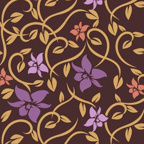 Asian Flowers - Purple & Brown