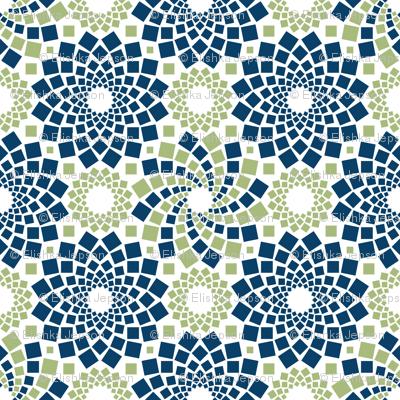 Kaleidoflowers (Navy and Green)