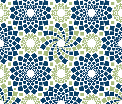Kaleidoflowers (Navy and Green) fabric by robyriker on Spoonflower - custom fabric
