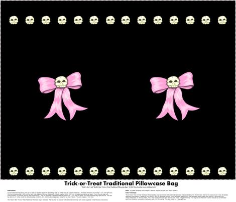 Skull'n Bow Trick-or-Treat Traditional Pillowcase Bag fabric by taracrowleythewyrd on Spoonflower - custom fabric