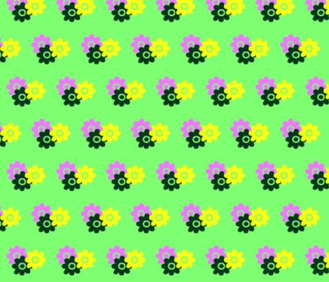 Flowers_on_green fabric by _vandecraats on Spoonflower - custom fabric
