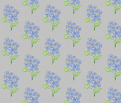 blue_flowers-grey fabric by mammajamma on Spoonflower - custom fabric