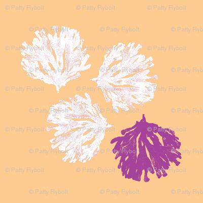 Sea weed (electric plum, light orange & white)