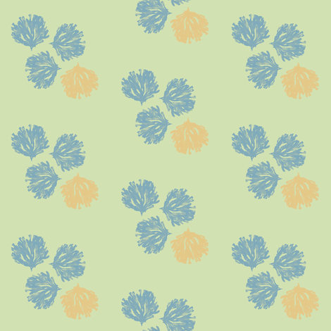 Sea Weed (deep blue, sea glass green & light orange) fabric by pattyryboltdesigns on Spoonflower - custom fabric