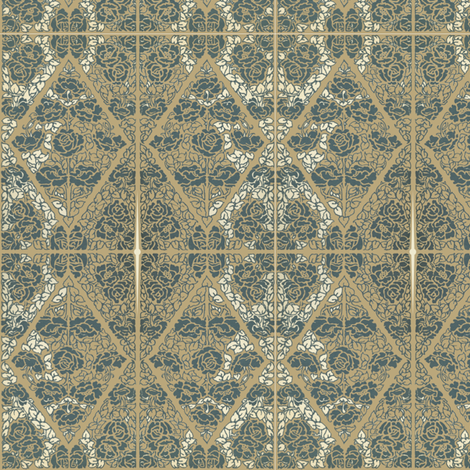 Roses of Etiquette 181 153 103 blue on greenish bkg fabric by petals_fair_-_peggy_brown on Spoonflower - custom fabric