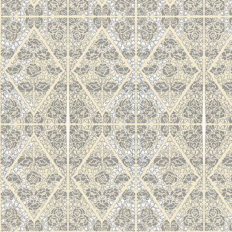 Roses of Etiquette - grey roses fabric by petals_fair_(peggy_brown) on Spoonflower - custom fabric