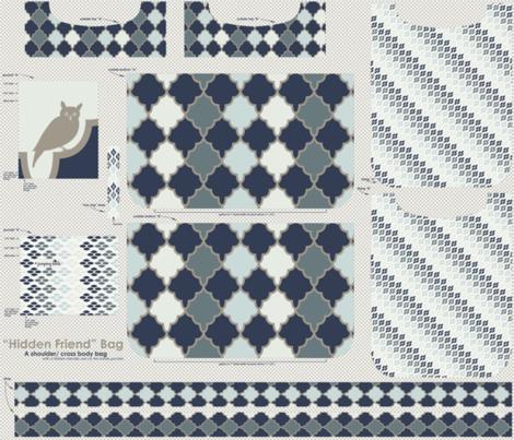 """Hidden Friend"" Bag - midnight blue fabric by natasha_k_ on Spoonflower - custom fabric"