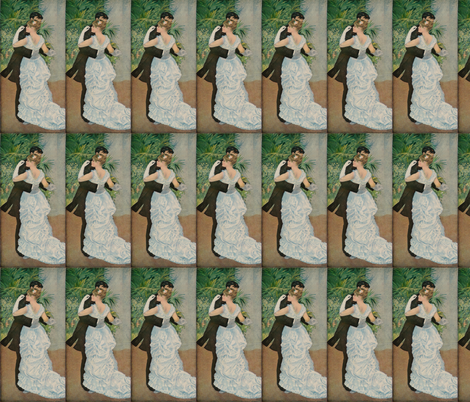 Pierre-Auguste Renoir's Dance in the Town 1883 fabric by zephyrus_books on Spoonflower - custom fabric