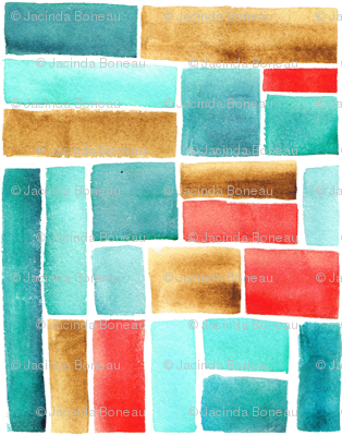 Texas Modern Crop Squares Turquoise