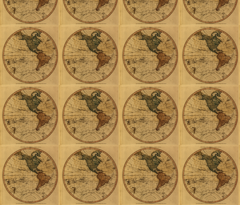 1786 Western Hemispehre Map by William Faden fabric by zephyrus_books on Spoonflower - custom fabric