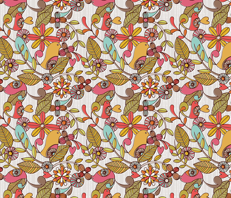 Birds and flower fabric by valentinaharper on Spoonflower - custom fabric