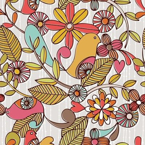 Birds and flower
