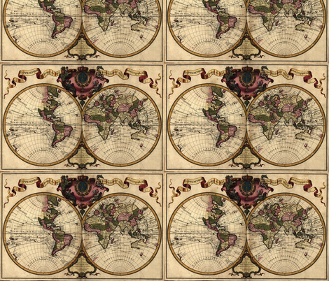 1720 World Map by Delisle fabric by zephyrus_books on Spoonflower - custom fabric