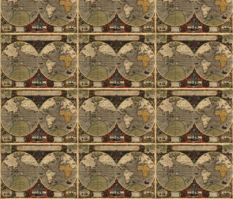 1595 World Map by Hondius fabric by zephyrus_books on Spoonflower - custom fabric