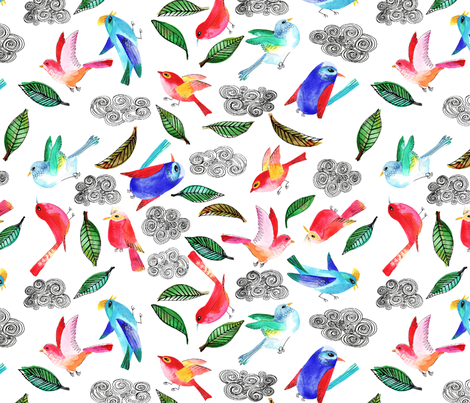amour d oiseau semi L fabric by nadja_petremand on Spoonflower - custom fabric