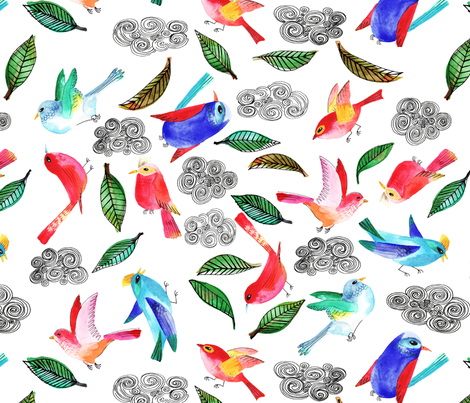 amour d oiseau semi XL fabric by nadja_petremand on Spoonflower - custom fabric