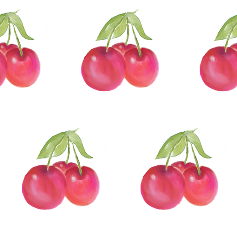 Pink Cherries fabric by shirley_sipler on Spoonflower - custom fabric