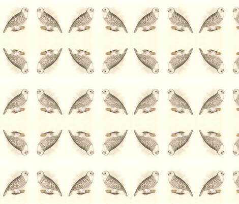 Snowy Owl - Vintage Bird / Birds of Prey Print fabric by zephyrus_books on Spoonflower - custom fabric