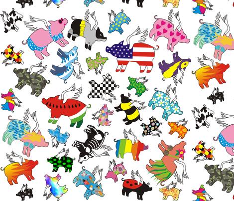 random_flying_pigs fabric by valcheck on Spoonflower - custom fabric