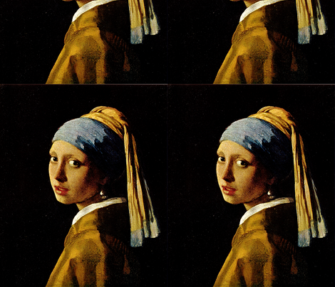 Johannes Vermeer 's Girl with a Turban 1665 (The Girl With the Pearl Earring) fabric by zephyrus_books on Spoonflower - custom fabric