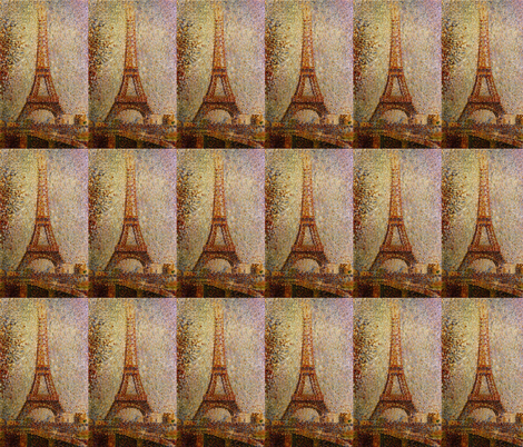 Georges Seurat's The Eiffel Tower 1889 fabric by zephyrus_books on Spoonflower - custom fabric