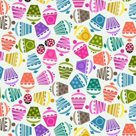 cupcakes and ladybugs small fabric by scrummy on Spoonflower - custom fabric