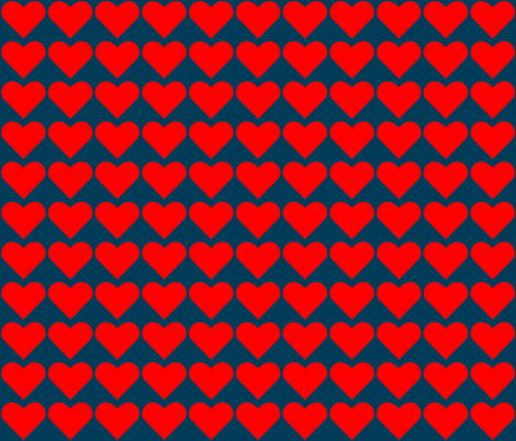 Red on Blue Hearts fabric by zephyrus_books on Spoonflower - custom fabric