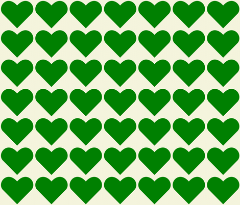 Green Hearts fabric by zephyrus_books on Spoonflower - custom fabric