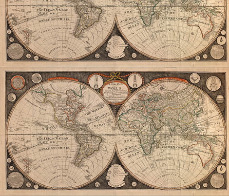 1799 World Map by Kitchen fabric by zephyrus_books on Spoonflower - custom fabric