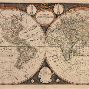 1799 World Map by Kitchen
