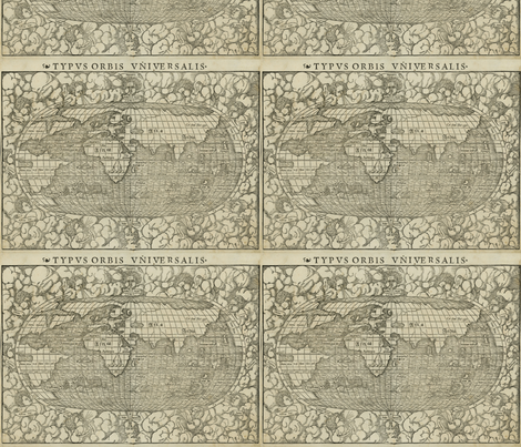 1660 World Map by Munster fabric by zephyrus_books on Spoonflower - custom fabric
