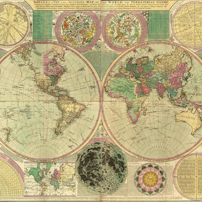 1780 World Map by Bowles