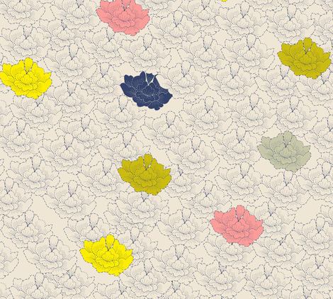 Pale Stitch Flowers fabric by candyjoyce on Spoonflower - custom fabric