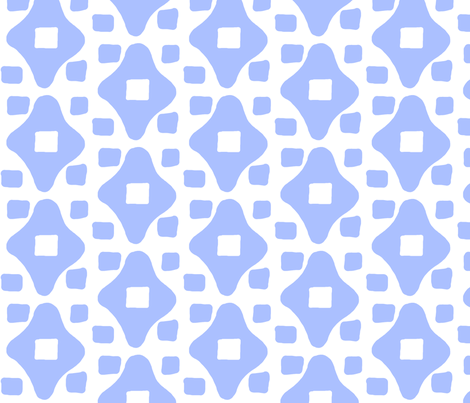 Wonky Moroccan Square (periwinkle & white) fabric by pattyryboltdesigns on Spoonflower - custom fabric