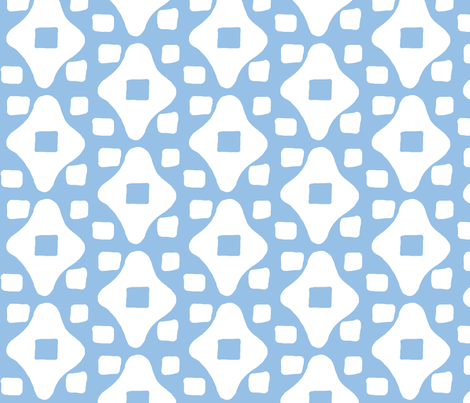 Wonky Moroccan Square (deep sky blue & white) fabric by pattyryboltdesigns on Spoonflower - custom fabric