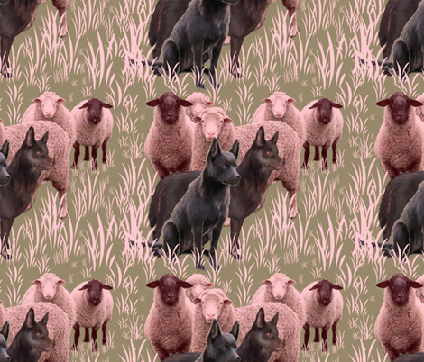 Australian Kelpies and Flock of Sheep fabric by dogdaze_ on Spoonflower - custom fabric