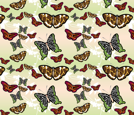 jungle butterflies fabric by thickblackoutline on Spoonflower - custom fabric