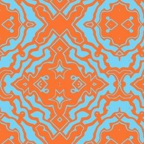 Ikat orange and aqua