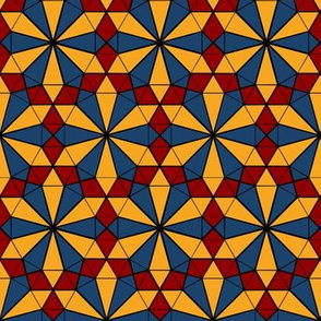Repeating Colorful Circle Design - Red Yellow and Blue on Black