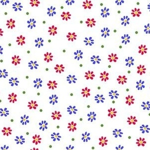 Tea Party Scattered Flowers, Red and Blue