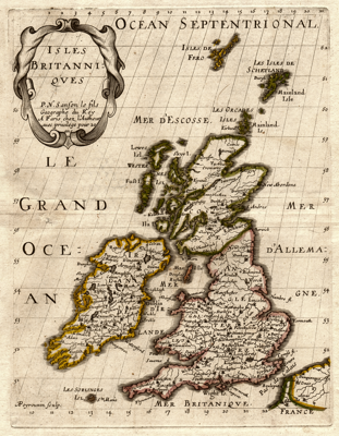 1700 British Isles Map by Sanson