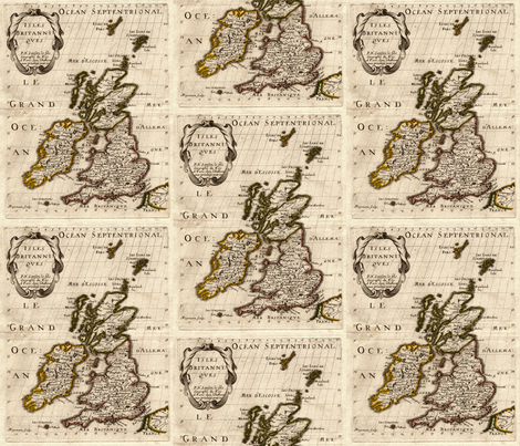 1700 British Isles Map by Sanson fabric by zephyrus_books on Spoonflower - custom fabric