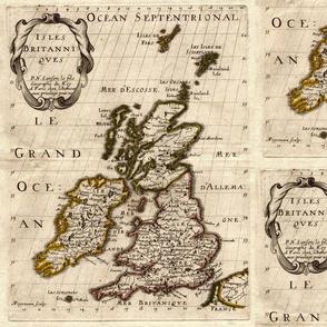 1700 British Isles Map by Sanson