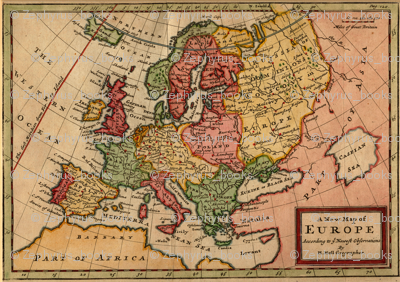 1721 Map of Europe by Moll