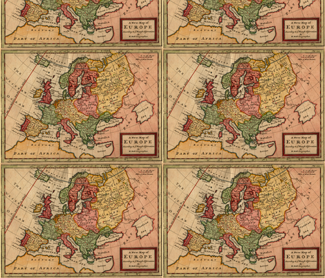 1721 Map of Europe by Moll fabric by zephyrus_books on Spoonflower - custom fabric